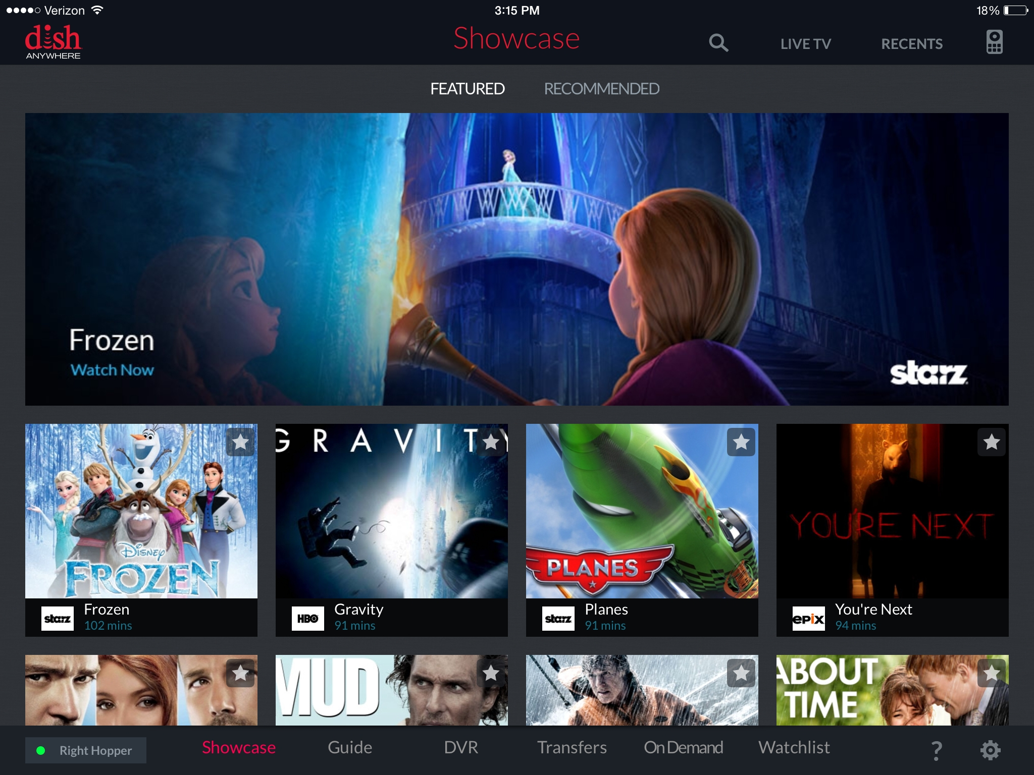 DISH Anywhere, featured programs screenshot on iPad. (Photo: Business Wire)