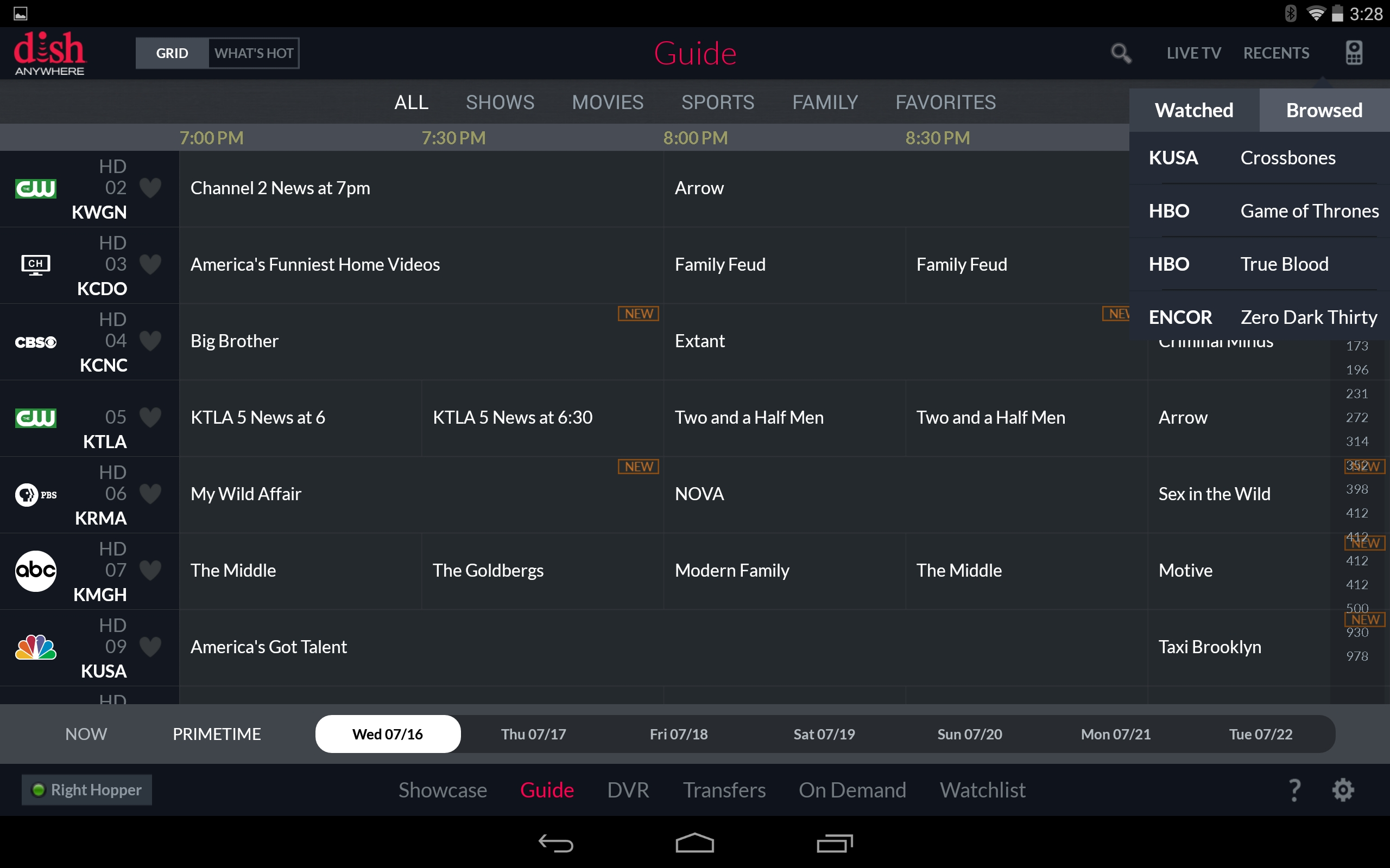 DISH Anywhere, guide screenshot on Android. (Photo: Business Wire)