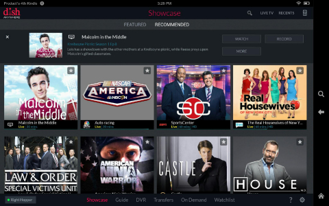 DISH Anywhere, recommended programs screenshot on Kindle Fire. (Photo: Business Wire)