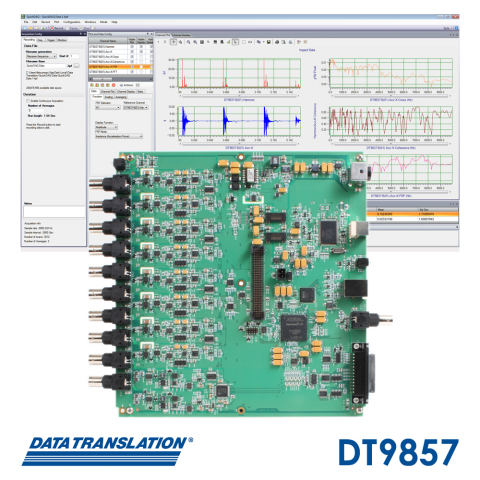 The DT9857 high channel count USB module for noise and vibration measurement employs a highly accurate front end design that allows simultaneous measurement of up to sixteen 24-bit IEPE sensor inputs at a sampling rate of 105.6 kHz, all supported by the QuickDAQ application. (Graphic: Business Wire)