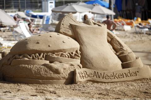 Sand sculptures were created to celebrate National Play in the Sand Day on Monday, Aug 11, 2014 at Caribe Hilton, in San Juan, Puerto Rico. (Photo by Ricardo Arduengo/Invision for Hilton Worldwide/AP Images). Hilton is inspiring travelers to Be A Weekender and book at HiltonWeekends.com