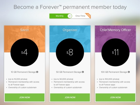 Forever, Inc., announced new pricing today that enables permanent storage and sharing of family memories for as little as $4 per month. (Photo: Business Wire)