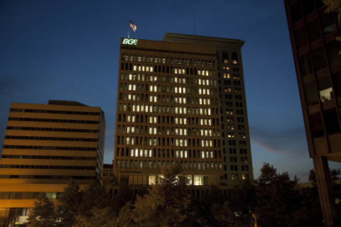BGE building in Baltimore on 8/11, 811 Day, serving as a reminder to call 811 before digging to help avoid damaging underground lines. (Photo: Business Wire)