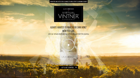 La Crema Virtual Vintner home page (Graphic: Business Wire)