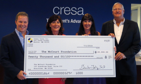 Cresa celebrates its $20,000 donation to the McCourt Foundation. Pictured left to right: McCourt Foundation Executive Director, Brian McCourt and Director, Denise C. Arrondo; Cresa Boston Controller Nancy Ryan, and Cresa Cares Board of Directors member William Goade. (Photo: Business Wire)