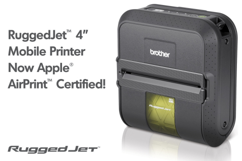 The RuggedJet(TM) 4'' Mobile Label and Receipt Printer by Brother is now AirPrint(TM) certified (Graphic: Business Wire)