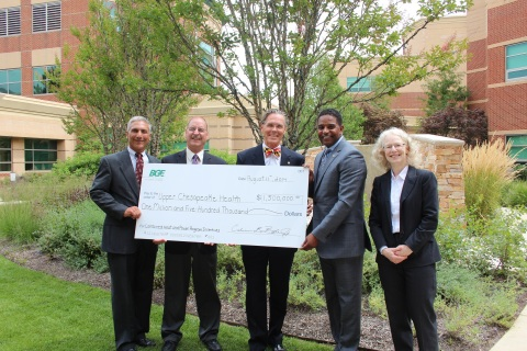 BGE presents University of Maryland Upper Chesapeake Health with $1.5 million in incentives through the BGE Smart Energy Savers Program Combined Heat and Power Program. Overall, the completed combined heat and power energy efficiency project is expected to save Upper Chesapeake $9 million over 20 years and will generate approximate 13 million kilowatt hours annually, making a positive impact on the electric grid, the local environment and importantly, the employees and patients of Upper Chesapeake Health. Pictured left to right: Jim Libertini, BGE, William Wolf, BGE, Lyle Sheldon, president and chief executive officer, Upper Chesapeake Health, Calvin G. Butler Jr., chief executive officer, BGE, Ruth Kiselewich, BGE (Photo: Business Wire)