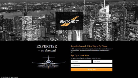 Sign up at www.skyjet.com to receive updates (Graphic: Business Wire)