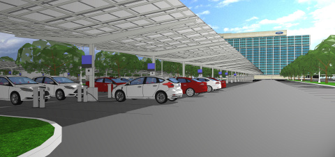 Ford Motor Company is teaming with DTE Energy to build Michigan's largest solar array at Ford World Headquarters. (Graphic: Business Wire)
