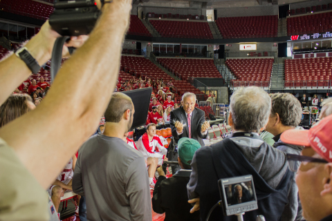 University of Wisconsin Badgers Basketball Coach Bo Ryan gets right into character during the Travel Wisconsin commercial shoot at the UW Kohl Center (Photo: Business Wire)