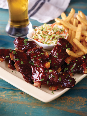 Applebee's new Crosscut Ribs feature the most tender, meaty bone-in cuts of pork loin, tossed in new handcrafted sauces. (Photo: Business Wire)