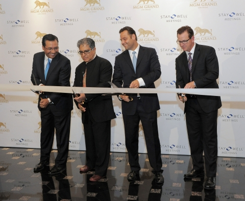 Dr. Deepak Chopra leads ribbon-cutting for the launch of Stay Well Meetings by Delos at MGM Grand La ...