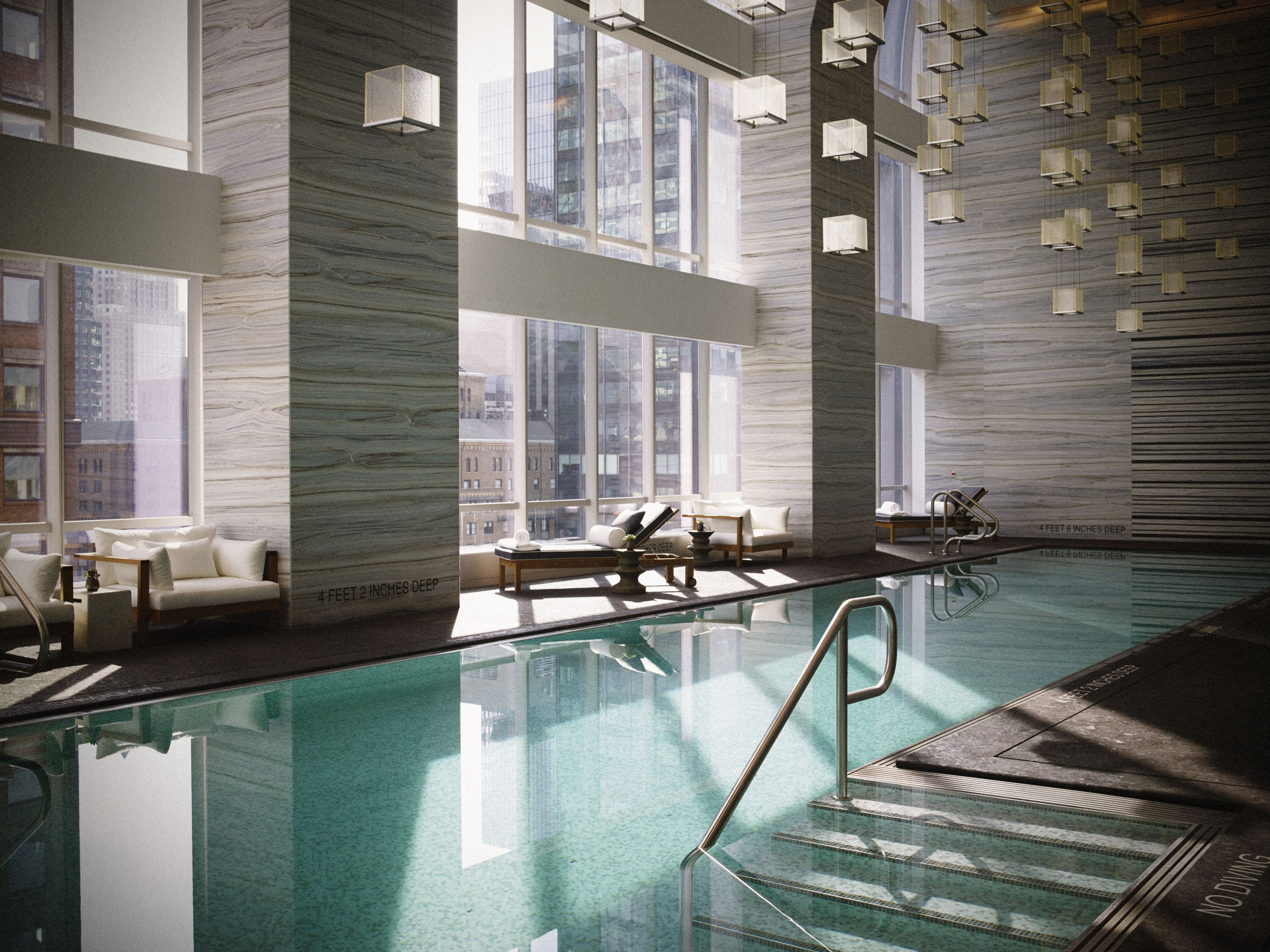 Park Hyatt New York's indoor swimming pool features underwater speakers playing an exclusive soundtrack from Carnegie Hall. (Photo: Business Wire)
