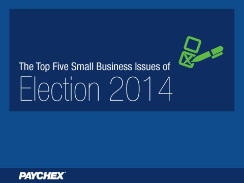 As the campaign season officially swings into high gear, Paychex has identified the top five issues of greatest importance to the country's small business owners this election year. (Graphic: Business Wire)