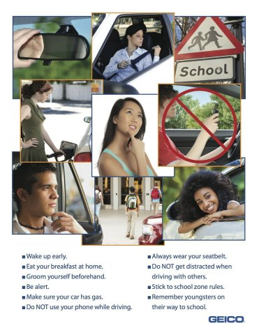 GEICO's 10 tips for back to school safe driving (Graphic: Business Wire)