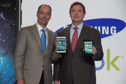 Mike Huseby, CEO of Barnes & Noble, Inc. (right) and Tim Baxter, President of Samsung Electronics America (left) hold the new Samsung Galaxy Tab 4 NOOK, the first full-featured Android tablet optimized for reading, at the flagship Barnes & Noble bookstore in New York on Wednesday, August 20, 2014. This is the first co-branded device from the two companies. (Michelle McLoughlin/Newscast Creative).