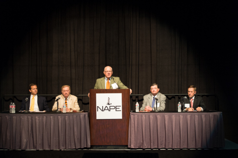 "Panelists discuss ""Legislative Initiatives and Rule Making Concerns Coming at You"" at the 2014 NAPE Business Conference today. From left to right: Jeremy Fitzpatrick, Director of Legal & Regulatory, RKI Exploration & Production, LLC; Lee Fuller, Vice President of Government Relations, IPAA; Alex Mills, President & Chief of Staff, Texas Alliance of Energy Producers; and Gifford Briggs, Vice President for Government Affairs, Louisiana Oil and Gas Association. (Photo: Business Wire)"