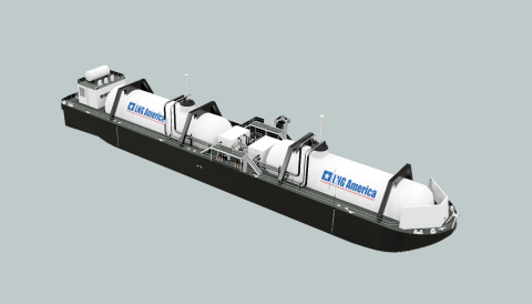 LNG America Bunker Barge prototype with a capacity of 3,000 cubic meters (m3). Copyright LNG America (Graphic: Business Wire)