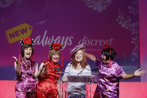 From Left: Red Hat Society® Esteemed Vice Mother Linda Murphy, Founder and Exalted Queen Mother Sue Ellen Cooper, Marketing Director Emily Yost and CEO Debra Granich announce a partnership with new Always Discreet™, available at Walmart, during the opening ceremony of the 2014 Red Hat Society Golden Gate Gala, Friday Aug. 22, 2014 in San Francisco, Calif. Always Discreet is joining forces with the Red Hat Society to promote fun and friendship and to encourage women to embrace aging knowing it's always no big deal. Always Discreet will be available at Walmart stores nationwide.