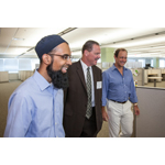 (left to right) Umair Khan, Customer Operations Lead, Accolade; Scottsdale Mayor Jim Lane; and Tom Spann, Accolade CEO; tour Accolade's new Scottsdale office, which will employ 300 health assistants by the end of 2016. (Photo: Business Wire)