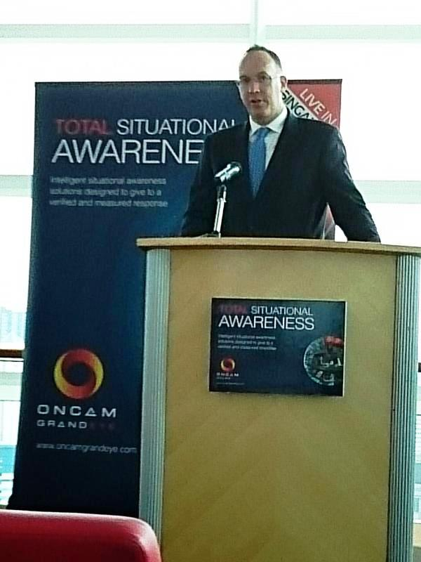 Antony Phillipson, British High Commissioner in Singapore, opens Oncam Grandeye's Total Solutions Seminar, which focused on Total Situational Awareness. (Photo: Business Wire)