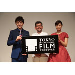 The first press conference to announce the event outline of the 27th edition of Tokyo International Film Festival (TIFF) was held on August 26 at Roppongi Hills, Tokyo. Harry Sugiyama (Festival navigator), Hideaki Anno and Azusa Okamoto (Festival navigator) from left to right. (C)2014 TIFF