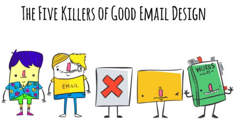 """The Five Killers of Good Email Design"" short cartoon on five common pitfalls to avoid when designing email campaigns. (Graphic: Business Wire)"