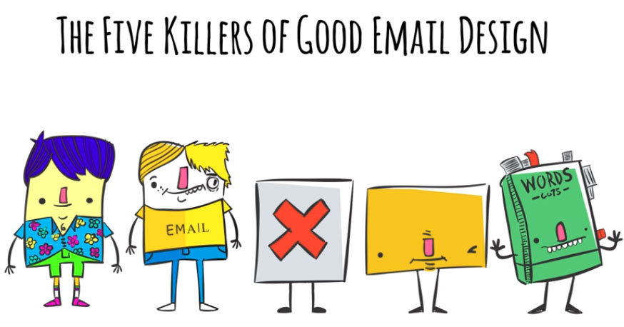 """""""The Five Killers of Good Email Design"""" short cartoon on five common pitfalls to avoid when designing email campaigns. (Graphic: Business Wire)"""