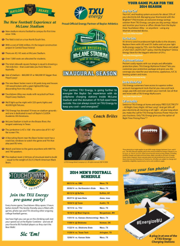 TXU Energy's Guide to the Game (Graphic: Business Wire)