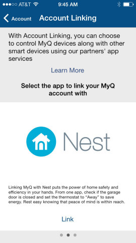 Control smart-home devices including Nest thermostats within the MyQ app Account Linking center. (Graphic: Business Wire)
