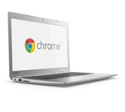 Toshiba's Chromebook 2 features an all-new sleek design that houses a 13-inch display in a compact 12-inch chassis. (Photo: Business Wire)