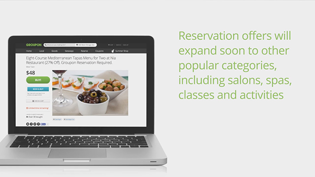 Groupon's new time-based deals platform enables all local businesses to accept reservations or take appointments.