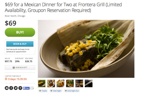 After a successful pilot with Rick Bayless' Frontera Grill in Chicago and approximately 100 other food and beverage establishments, Groupon's time-based deals platform is now available to all restaurants that accept reservations with plans to expand to other categories of merchants that take appointments. (Graphic: Business Wire)