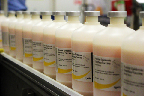 Zoetis porcine epidemic diarrhea virus vaccine in production at the Zoetis Lincoln, Nebraska manufacturing site. (Photo: Business Wire)