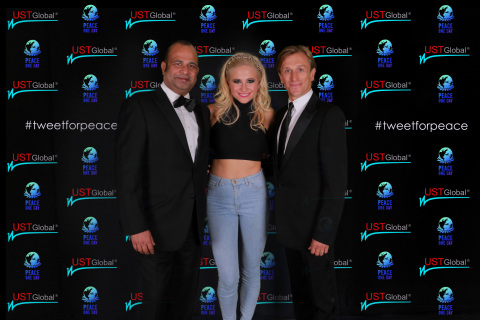 Joe Nalkara, President, UST Global with Singer Pixie Lott and Founder of Peace One Day Jeremy Gilley ...