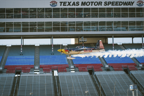 Kirby Chambliss flies just over the surface of the Texas Motor Speedway in Fort Worth, TX, USA on 16 December, 2013. Photo Credit: Skyler Fike / Red Bull Content Pool