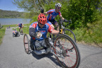Mike Frazier gets a helping hand from Ray Clark as they tackle a hill together on the Ride 2 Recovery Challenge. These injured veterans are using cycling as part of their physical and mental rehabilitation from injuries and illness suffered in service to the country. In the upcoming UnitedHealthcare Ride 2 Recovery Minuteman Challenge, cyclists will be riding hand cycles, recumbents, tandems and traditional road bikes (Photo: Tiffini Skuce, Ride 2 Recovery).