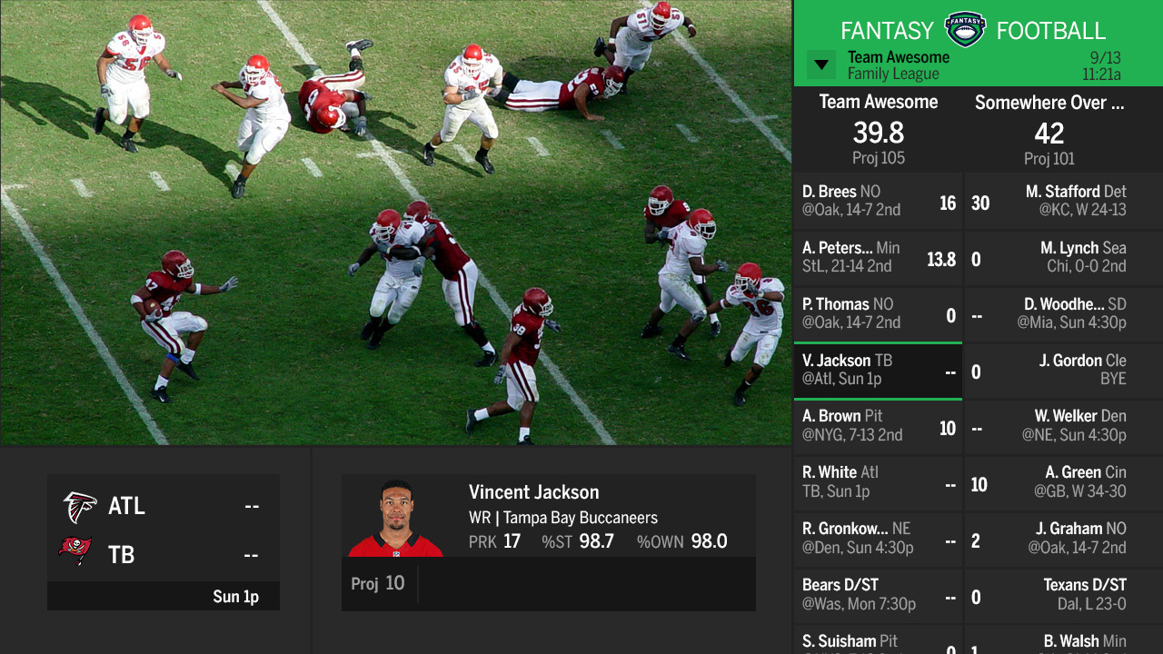 ESPN Fantasy Football app on DISH's Hopper DVR. (Photo: Business Wire)