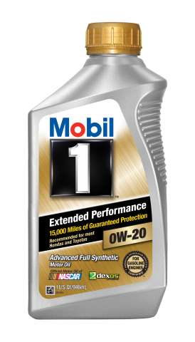 ExxonMobil Introduces Mobil 1 Extended Performance SAE 0W-20 viscosity motor oil, designed to protect critical engine parts for up to 15,000 miles between oil changes. (Photo: Business Wire)