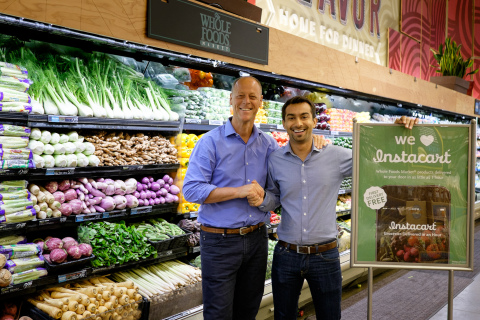 Whole Foods Market co-CEO Walter Robb and Instacart founder and CEO Apoorva Mehta celebrate a partnership that delivers more convenient shopping choices to Whole Foods Market shoppers (Photo: Business Wire)