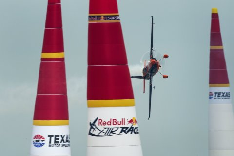 Nicolas Ivanoff of France performs during the finals for the sixth stage of the Red Bull Air Race World Championship at the Texas Motor Speedway in Fort Worth, Texas, United States on September 7, 2014.  (Photo: Joerg Mitter/Red Bull Content Pool)