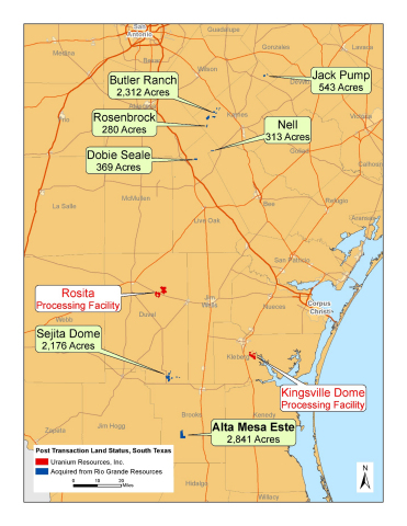Appendix 1: Map of Uranium Resources' South Texas Properties (Graphic: Business Wire)