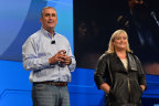 Intel CEO Brian Krzanich and President Renee James take questions from the IDF14 audience (Photo: Business Wire)