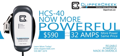 ClipperCreek has increased the standard power level of the HCS-40 and CS-40 series EV charging stations from 30 Amps to 32 Amps continuous, and the price stays the same. (Graphic: Business Wire)