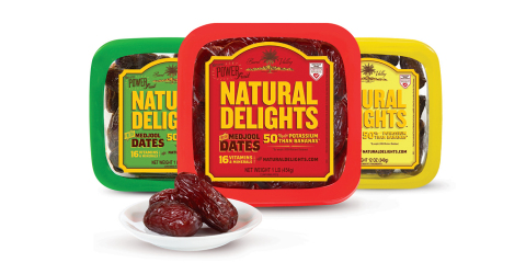 New Natural Delights Original, Pitted and Organic Medjool Dates packaging includes Heart-Check mark. (Photo: Business Wire)