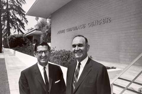 H. Russell Smith (left) and R. Stanton Avery, Avery Dennison founder, in front of the company's former headquarters in San Marino in the 1960s. Smith played a key role in turning Avery's inventions into a thriving business. (Photo: Business Wire)