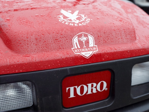 Toro's Workman MDX utility vehicle in action at Gleneagles PGA Centenary Course for the 2014 Ryder C