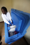 A doctor taking vaccines from a vaccine refrigerator. Vaccines need to be stored at specific temperatures to preserve the vaccine quality and currently storage facilities in many developing countries are extremely basic. (Photo: Business Wire)