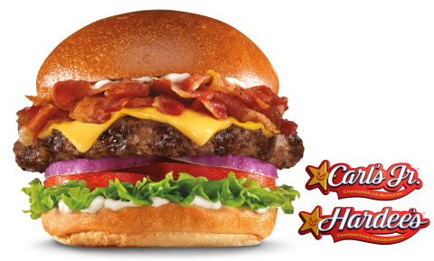 Now arriving at Carl's Jr.(R) and Hardee's(R), the new Mile High Bacon Cheese Thickburger features premium, thick-cut Applewood-smoked bacon piled sky high on top of a charbroiled, 100 percent Black Angus beef Thickburger patty, along with American cheese, red onion, tomato, lettuce and mayonnaise, all served on a Fresh Baked Bun. (Photo: Business Wire)
