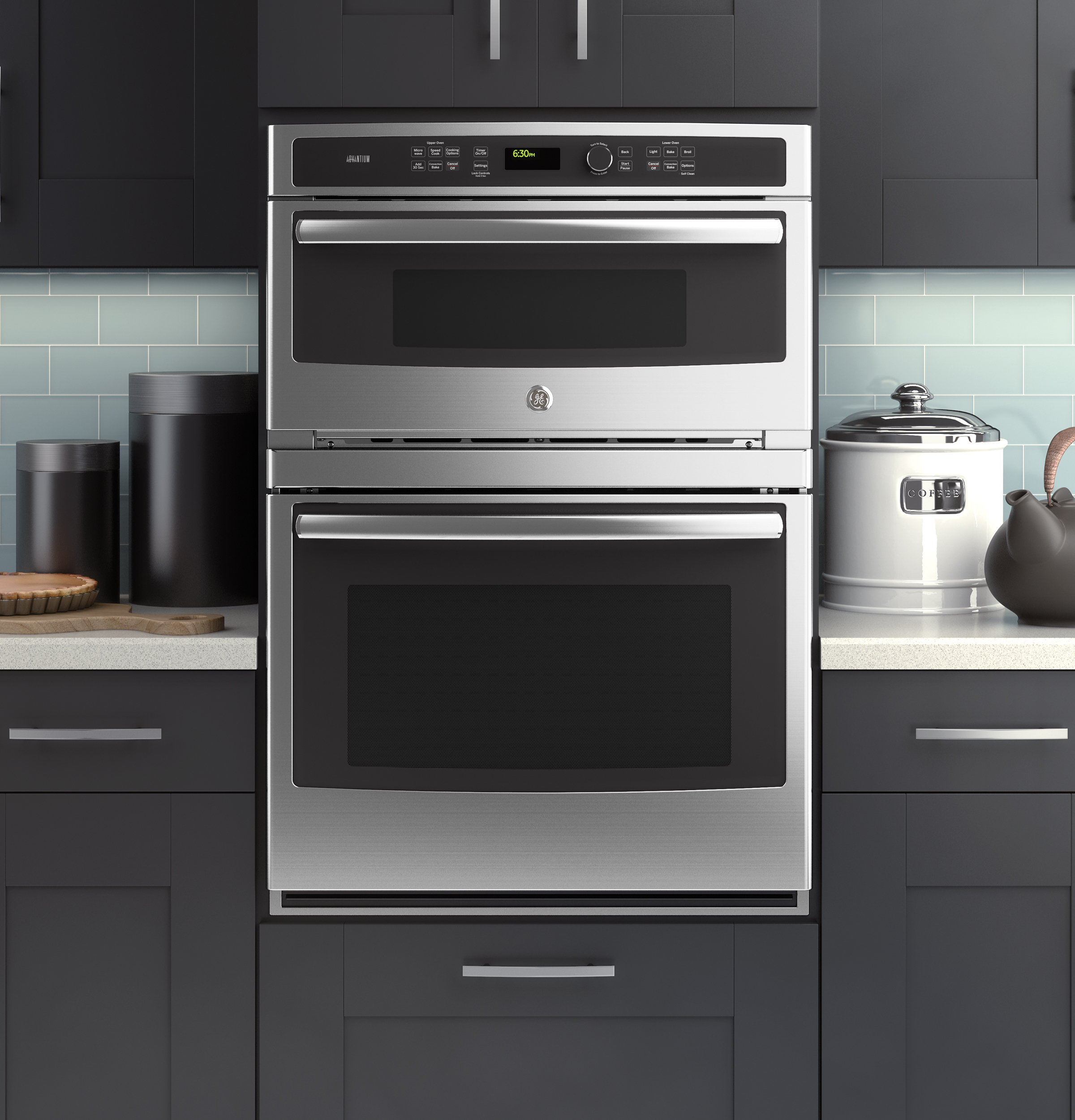 Ge modernizes the microwave wall oven combination with its for Small built in microwave oven